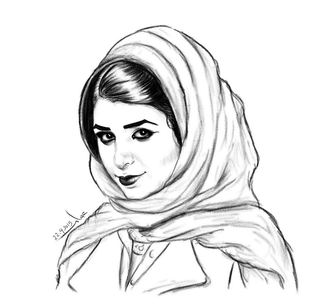 Muslim Girl Hijab Sketch Black And White