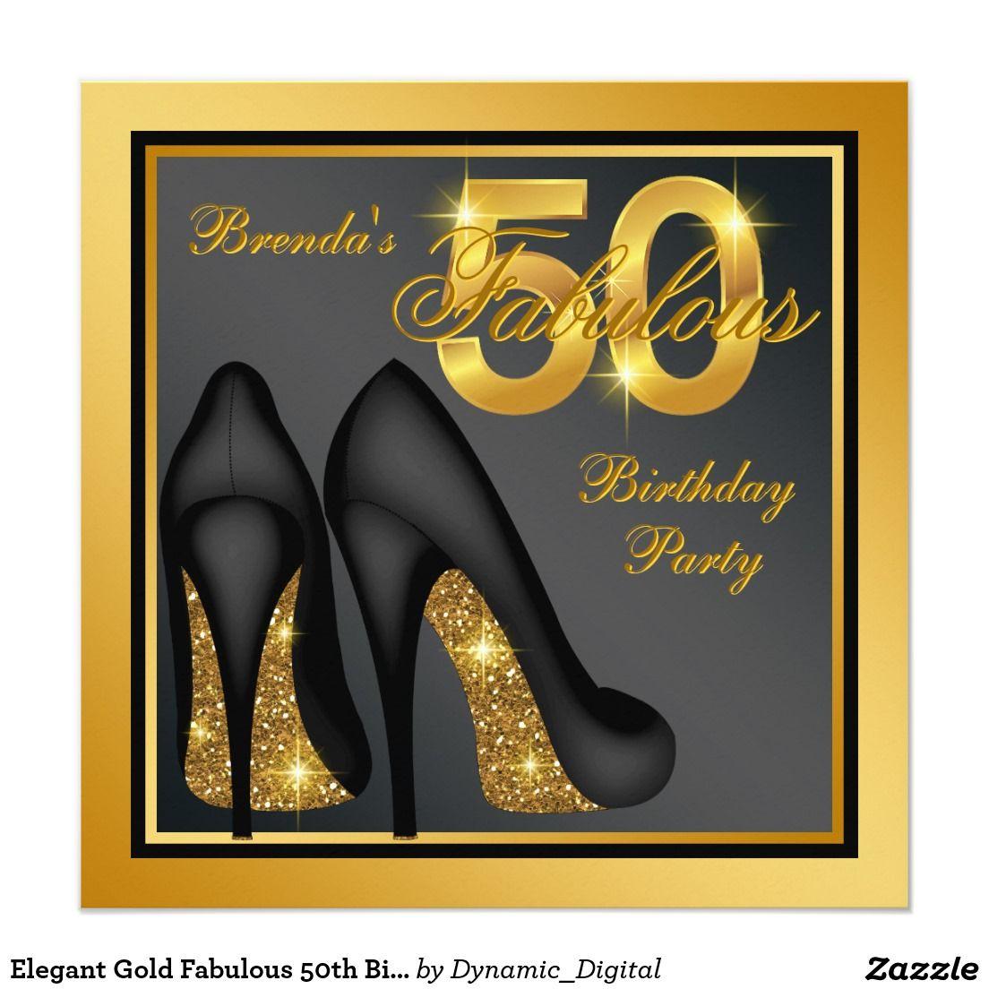 50 Fabulous Graphic: Elegant Gold Fabulous 50th Birthday Party Invitation