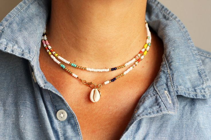 Photo of Colorful Beaded Cowrie Shell Choker Necklace