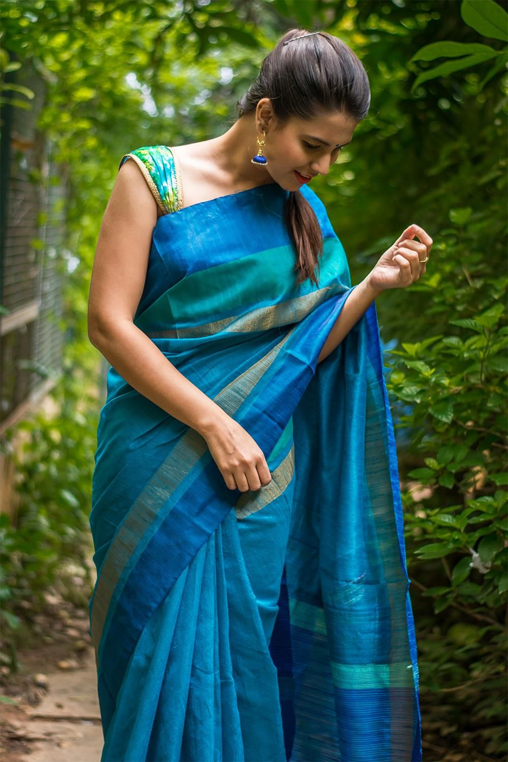 c41a79f39dbfa Sky blue semi tussar saree with blue and gold border