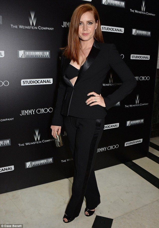 Amy Adams In A Formal Pantsuit With Open Jacket Showing Off Her Bra At Bafta Party