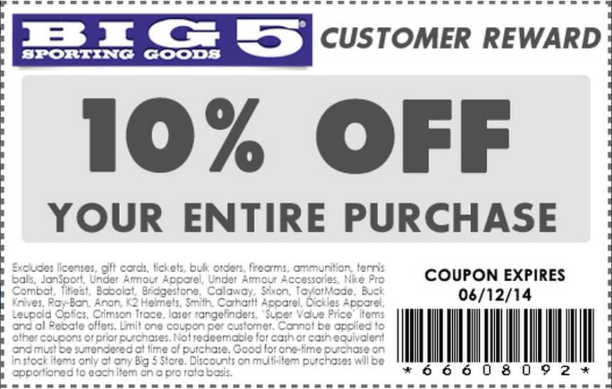 photograph relating to Big 5 Sporting Goods Printable Coupon identify Look at out deals in opposition to Huge 5 Donning Merchandise utilizing GeoQpons