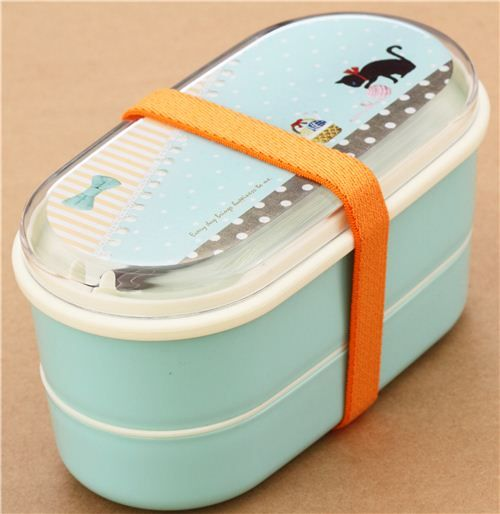 turquoise cat dot ball of wool Bento Box Lunch Box by Kamio from Japan 1
