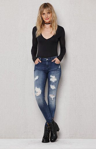 Pirate Blue Ripped Low Rise Skinny Jeans  609e5a961