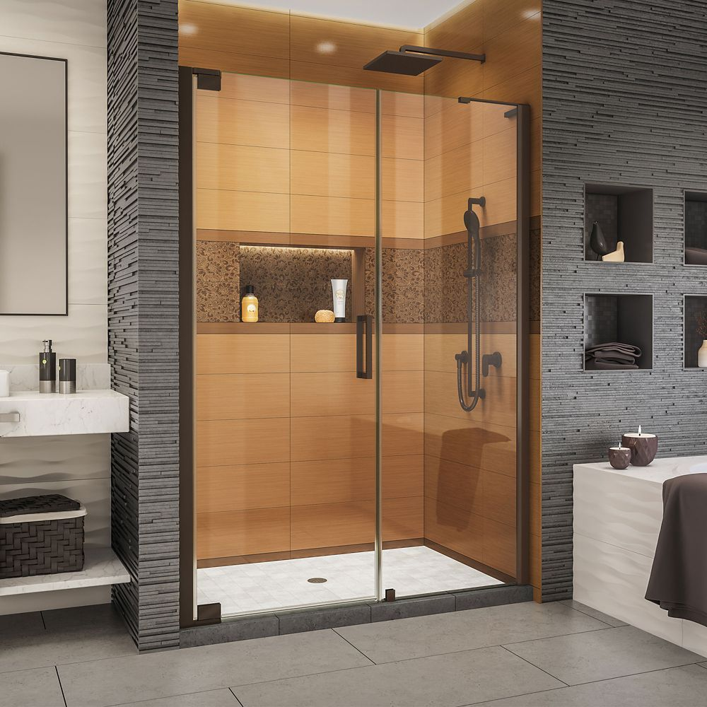 Elegance Ls 49 51 Inch W X 72 Inch H Frameless Pivot Shower Door In Oil Rubbed Bronze Shower Doors Black Shower Doors Dreamline