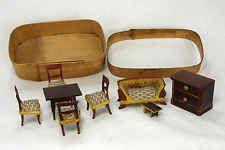 Antique German Miniature Doll House Furniture Set in Original Box ca1900
