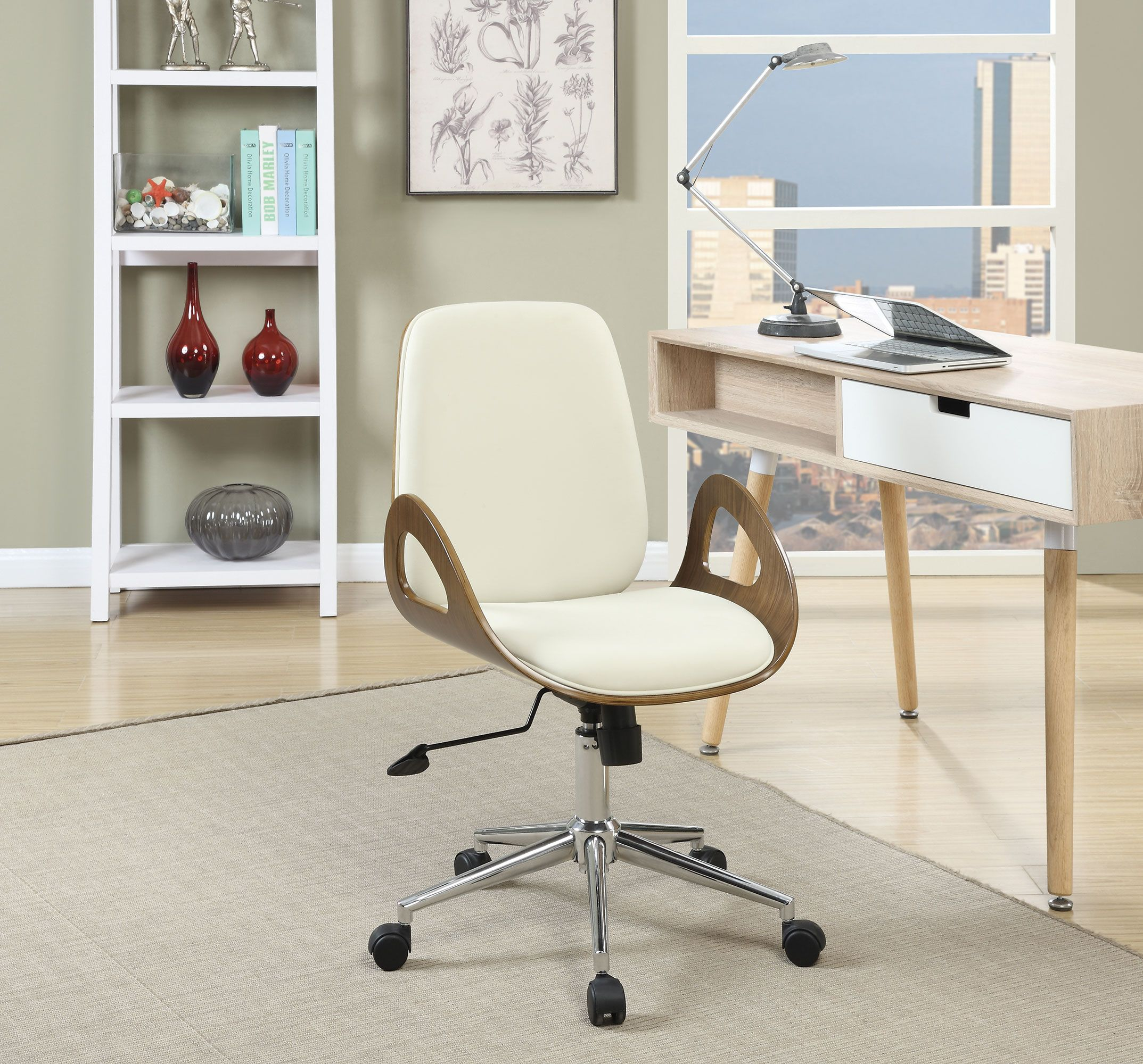 Coaster 800737 Mid Century Modern White Walnut Chrome Office Chair Furniture Blue Chairs Living Room Chair