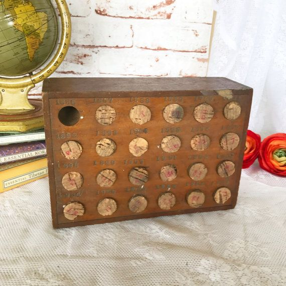 Antique Wood Coin Bank Box Holder Sorter 1886-1909 penny & dime collection wooden piggy bank cork stoppers primitive rustic décor by WonderCabinetArts