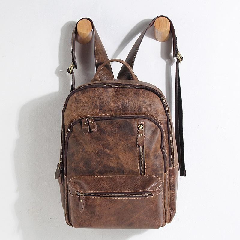 037dc341a9 Handmade Leather Mens Cool Backpack Sling Bag Large Black Travel Bag Hiking  Bag for men