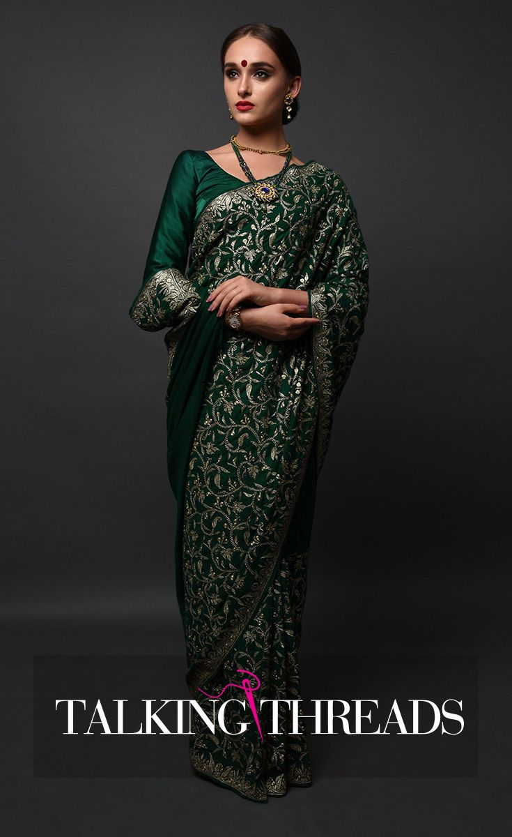 81882618e7 Masterpiece Green Pure Pashmina Saree With Kashmiri Tilla Embroidery ...