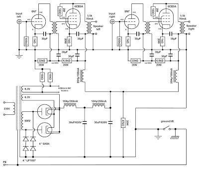 VinylSavor: Making of a SE 6CB5A amplifier: circuit