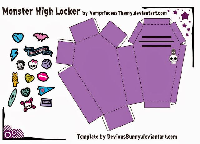 Monster High 3D Coffin Free Printable Templates Monster high