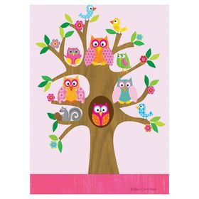 Picture of 16 X 20-in Glitter Whimsy Owls Children's Art Piece