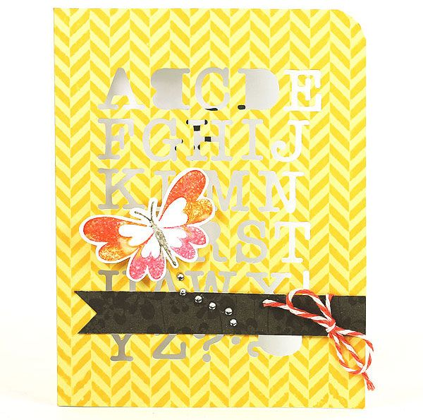 Card by Lisa Spangler uses the entire DI061 Alphabet Uppercase Fancy Die #HeroArts