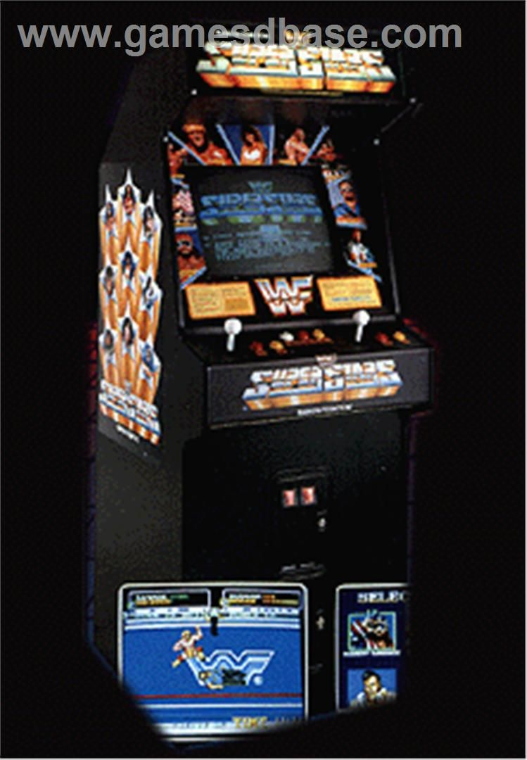 wrestling arcade game art in the wwf superstars is the