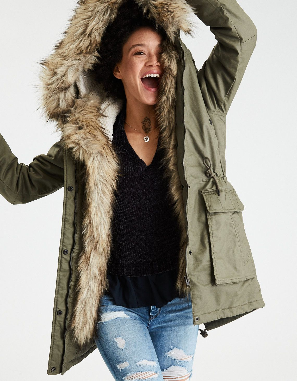 33 Gifts From American Eagle You Ll Want To Swoop Down And Buy Asap Fur Hood Parka Faux Fur Hooded Parka Faux Fur Hooded Coat [ 1462 x 1140 Pixel ]