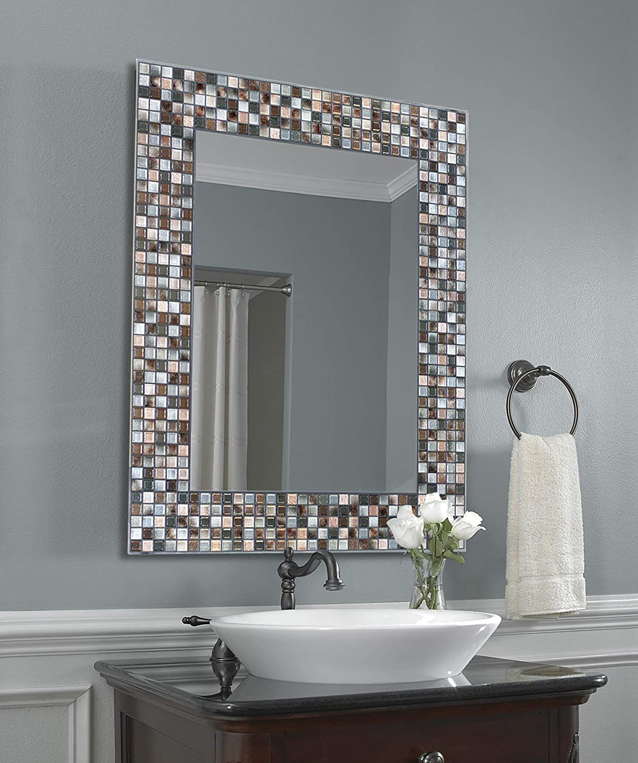 Bronze Mosaic Tile Wall Mirror 24 Inches By 30 Inches 24 X 30 Vanity Wall Mirror Mirror Wall Glass Mirror