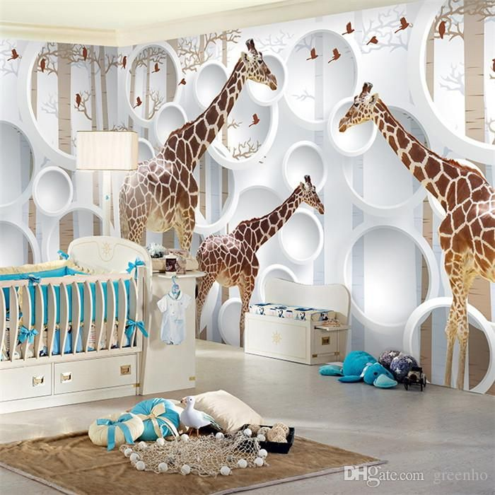 Unique Wall Decor For Nursery : Unique d view giraffe photo wallpaper cute animal wall