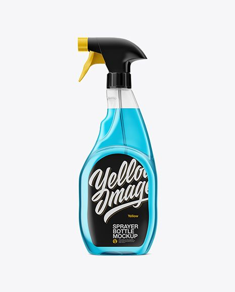 Transparent Plastic Bottle W/ Trigger Sprayer Mockup in ...