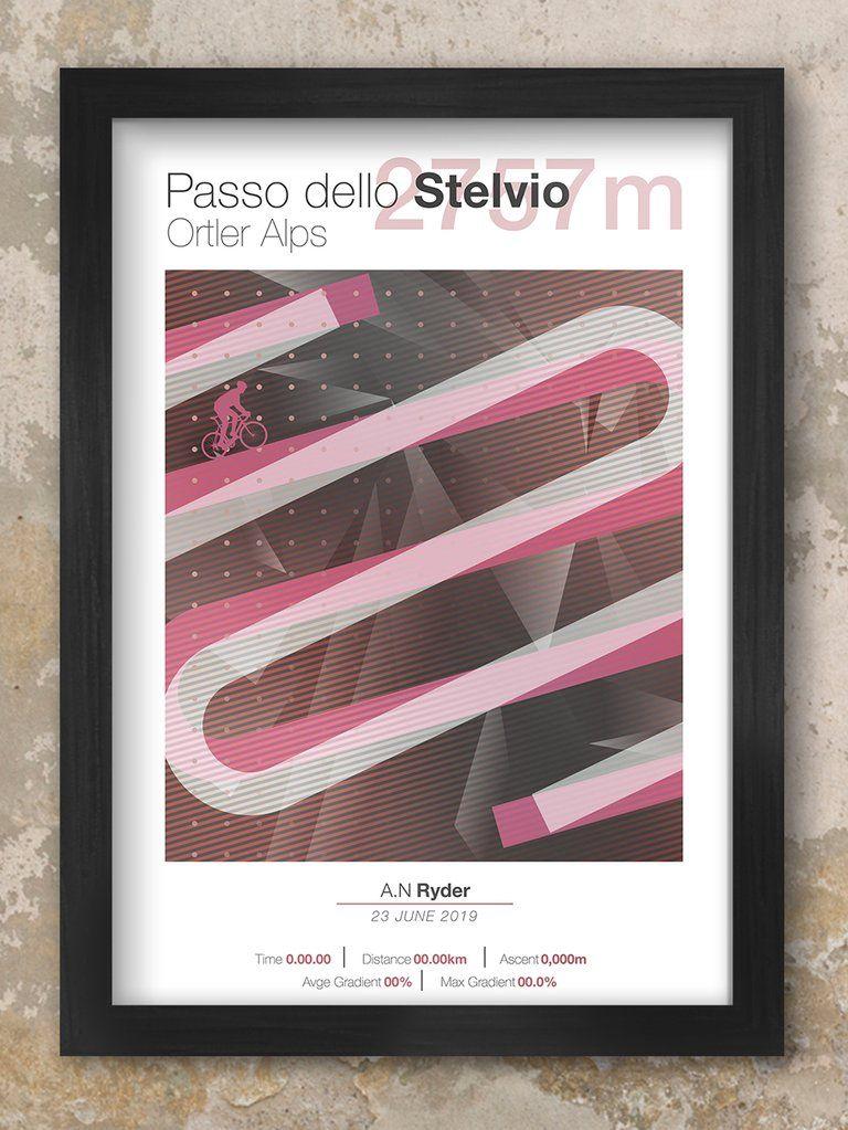 Cycling Climbs Passo Dello Stelvio Cycling art, Prints
