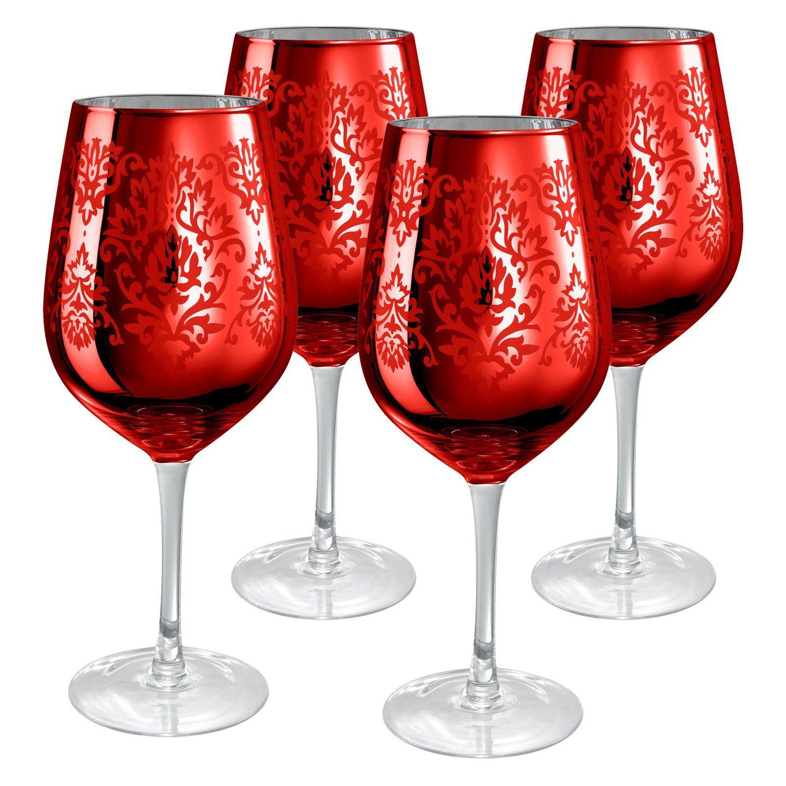 Artland Inc Red Brocade Goblet Glasses Set Of 4 From Hayneedle Com Wine Glass Set Wine Glass Fun Wine Glasses
