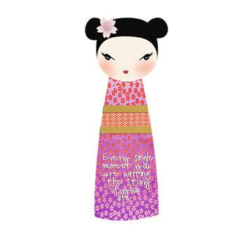Kokeshi - customizable printable bookmark - Inspirational Quote - paper doll - printable downloads - japanese doll - paper craft supply