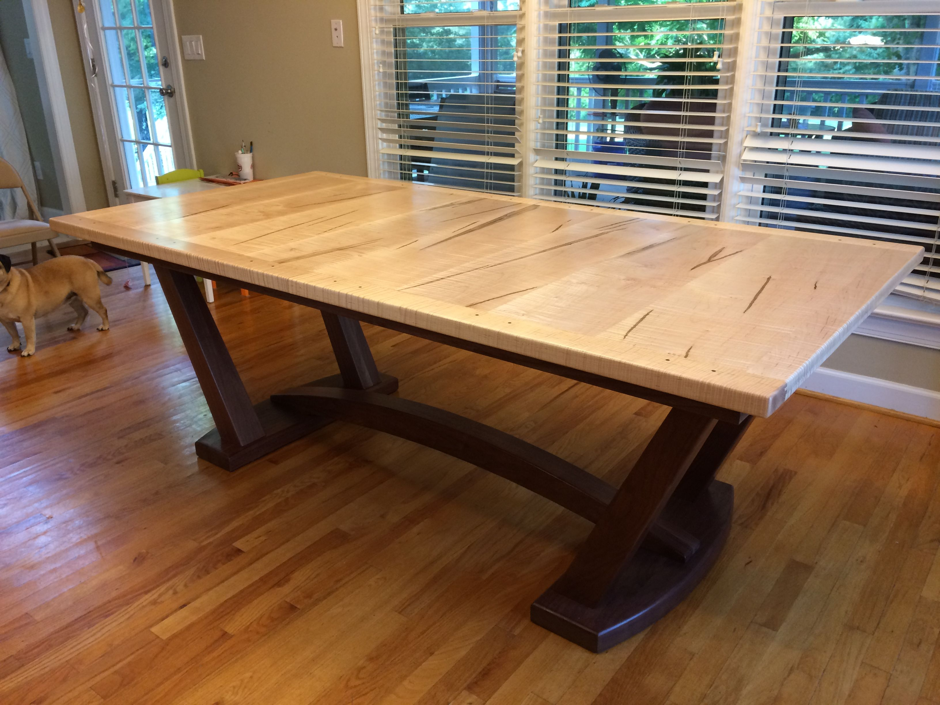 Tiger Maple Walnut Trestle Table With Butterfly Leaf Folded Underneath The Table Top Dining Table Rustic Dining Table Table
