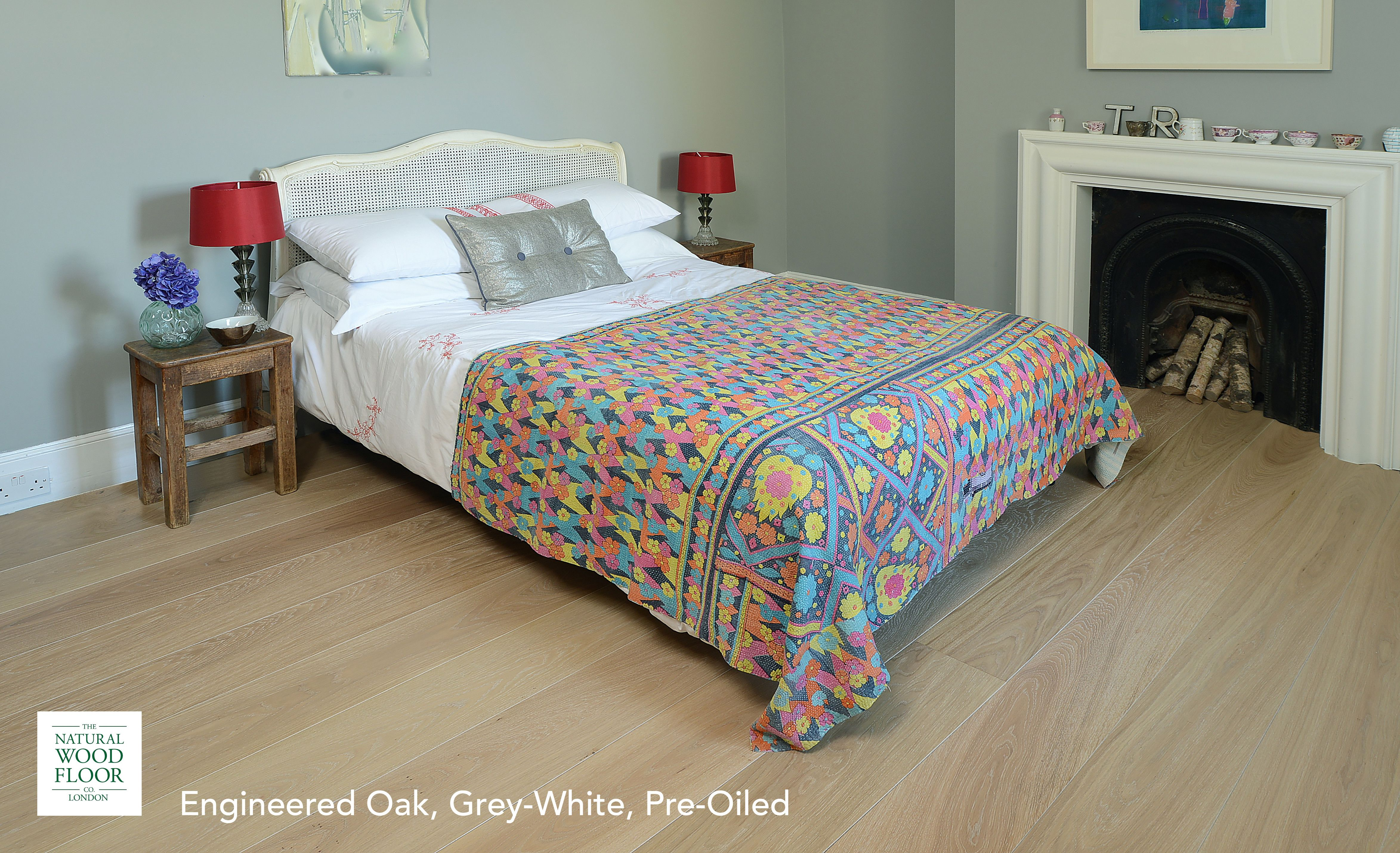 The smoky tones of the Grey White Preoiled Engineered Oak