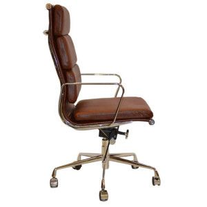Modern Leather Office Chair Retro Eames Style Tan Brown 01