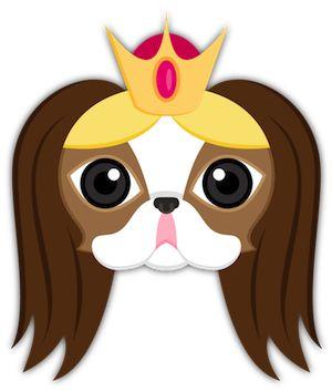 Queen/Princess Japanese Chin Puppy Dog Emoji Keyboard