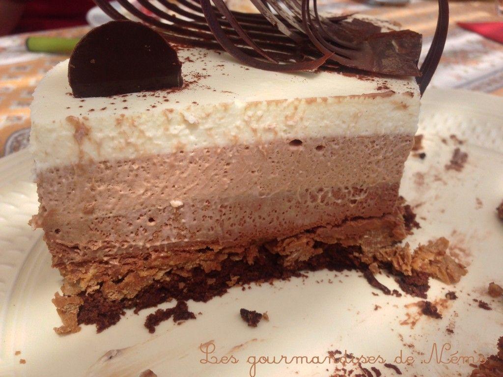 Entremet Trois Chocolats Mousse Chocolat Noir Mousse Chocolat Au