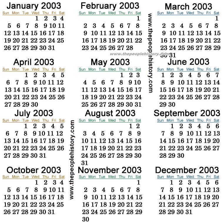 2003 Calendar | Kalender | Pinterest | 2003 calendar
