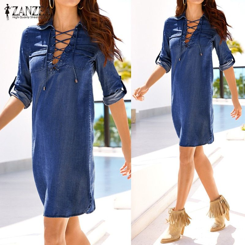 5b2d6a1278d Vestidos 2018 Spring Autumn Retro Solid Denim Mini Dress ZANZEA Women  Casual Loose Lapel Long Sleeve Lace Up Dresses Plus Size Price  22.42    FREE Shipping ...