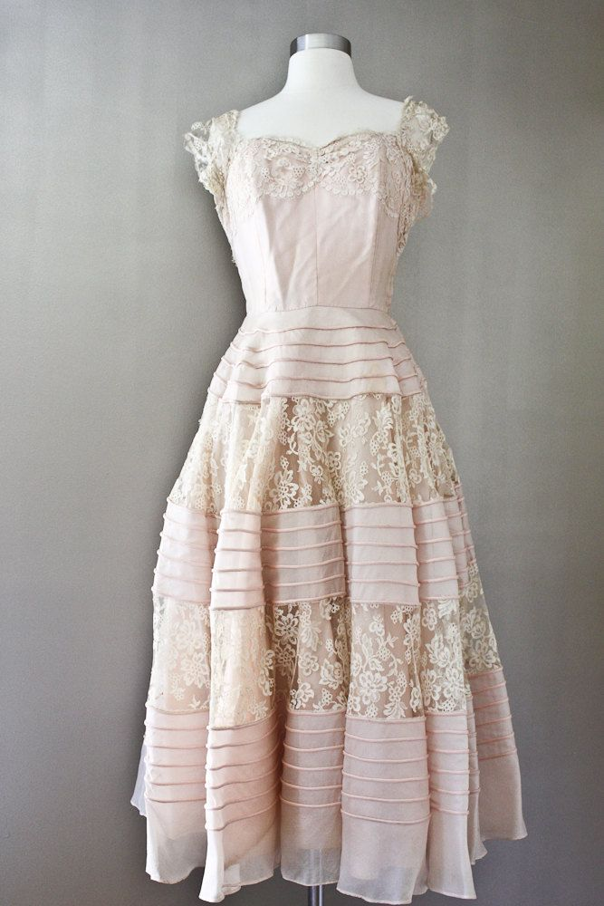1950s Pink Party Dress - Gothe NY Lace  Pale Gown.
