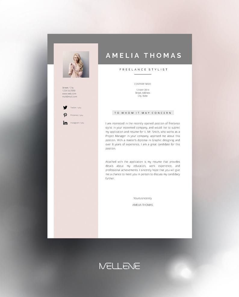 Cv Resume Template And Cover Letter Professional Creative Page Design Adjustable Layout Self Branding And Resume Template Creative Cover Letter Lettering,Pretty Light Pink Toe Nail Designs