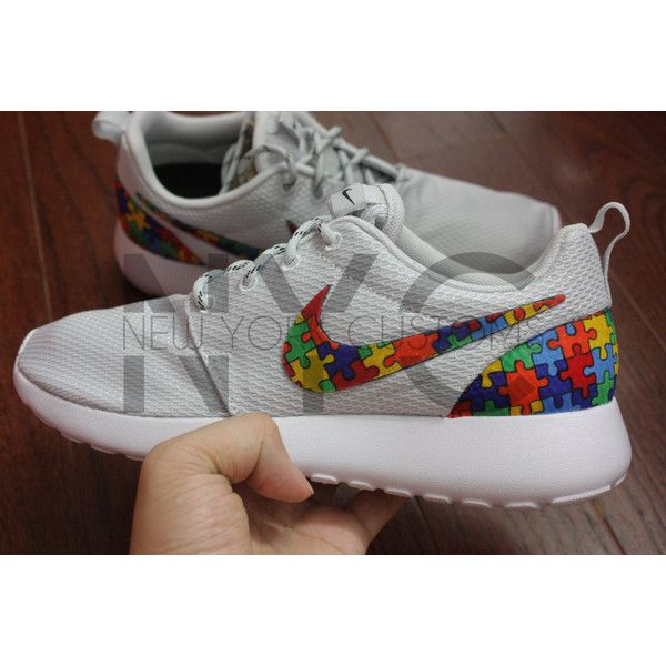 8d966d932326 Nike Roshe Run Grey Autism Awareness Puzzle Pieces Custom ( 150) ❤ liked on  Polyvore featuring shoes
