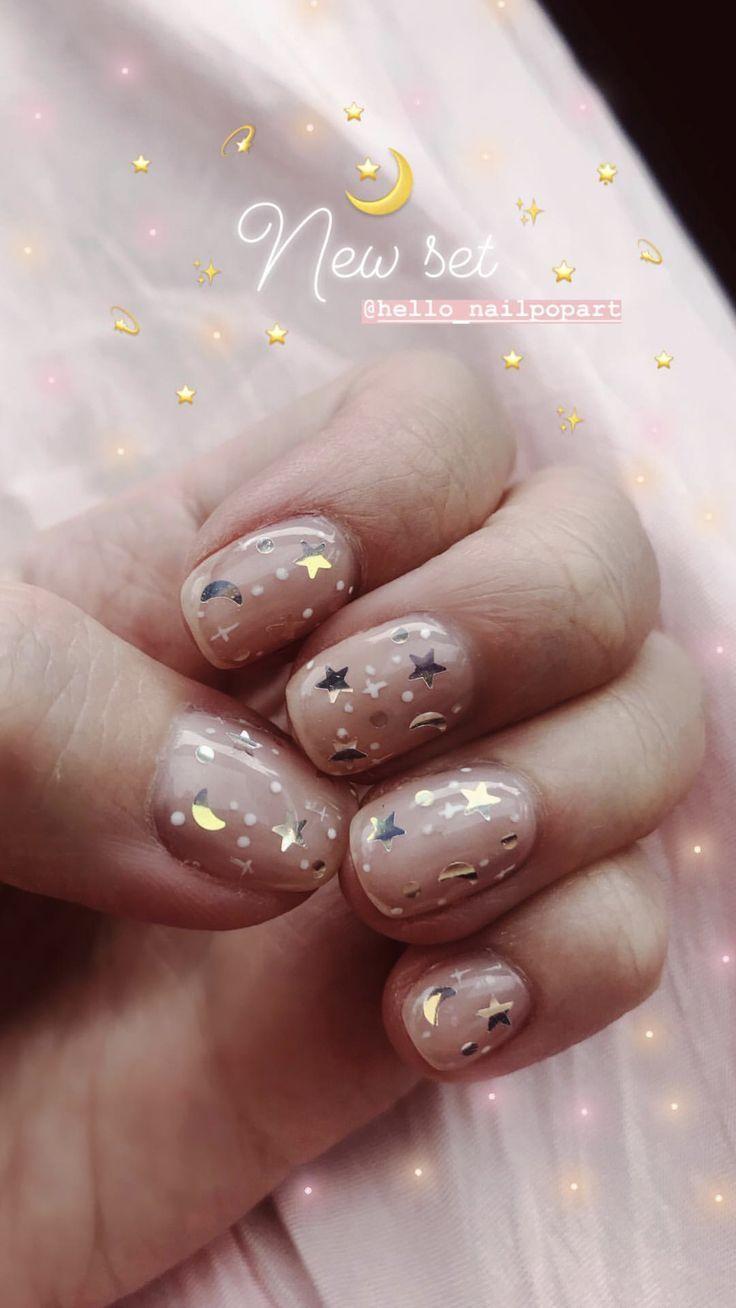 Moon And Stars Nails Nails Inspiration Cute Nails Manicure