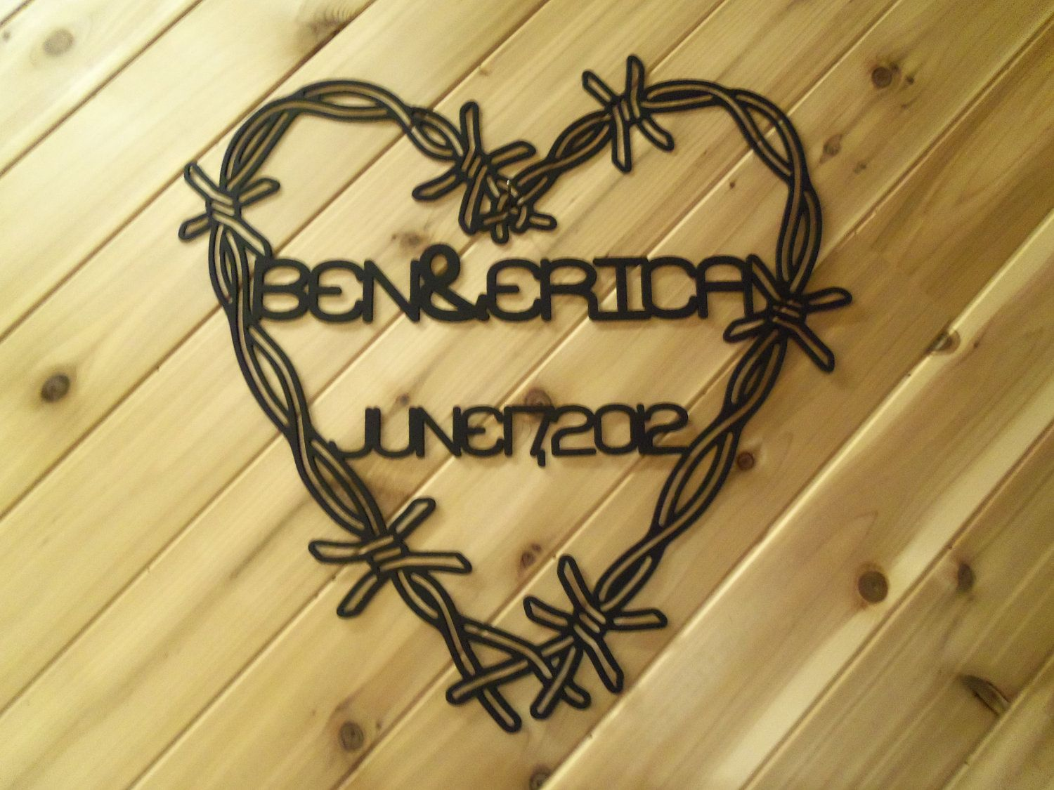 Barbed Wire Heart Custom Name and Date - Metal Wall Art - Metal Wall ...