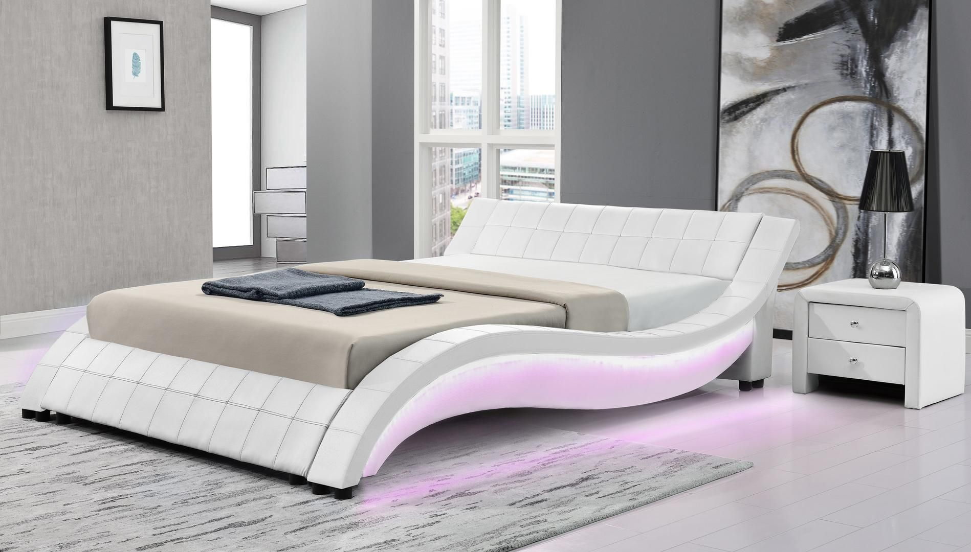 Milo Italia Aurora Queen Size Bed Auroraqnwh21 White Appliances