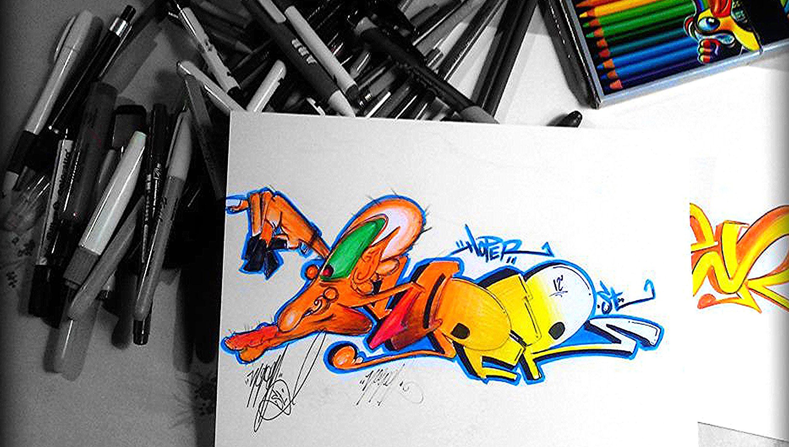 graffiti bocetos a lapiz y colores