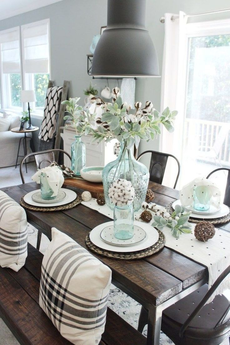 50 Stunning Farmhouse Dining Room Decoration Ideas Pimphomee Farmhouse Dining Table Farmhouse Dining Rooms Decor Farmhouse Dining