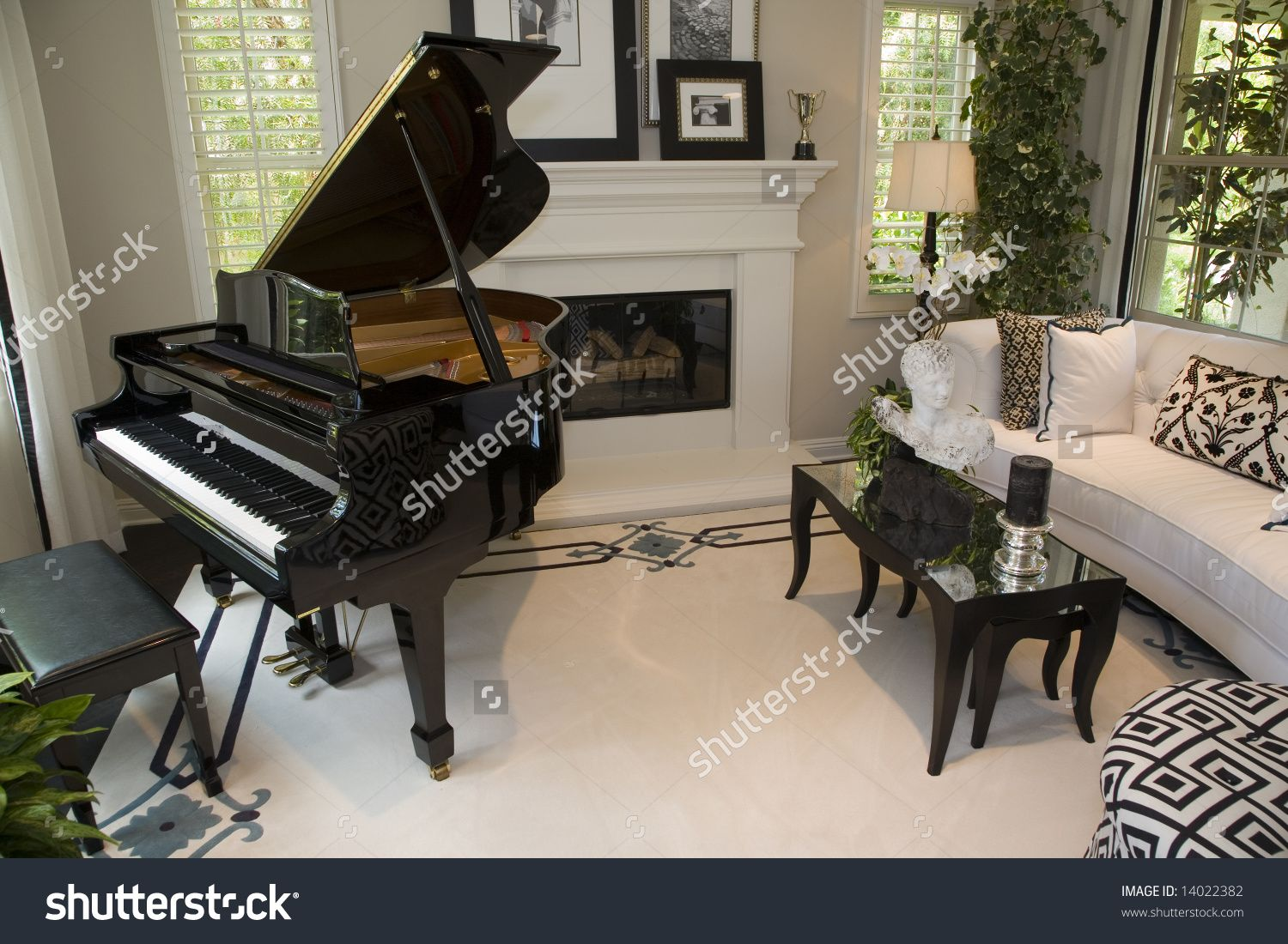 Stock photo luxury house interior with open floor plan for Grand piano in living room