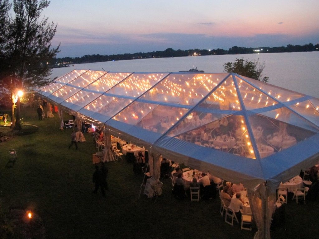 Backyard wedding tent Clear Top Tent, Italian Lighting