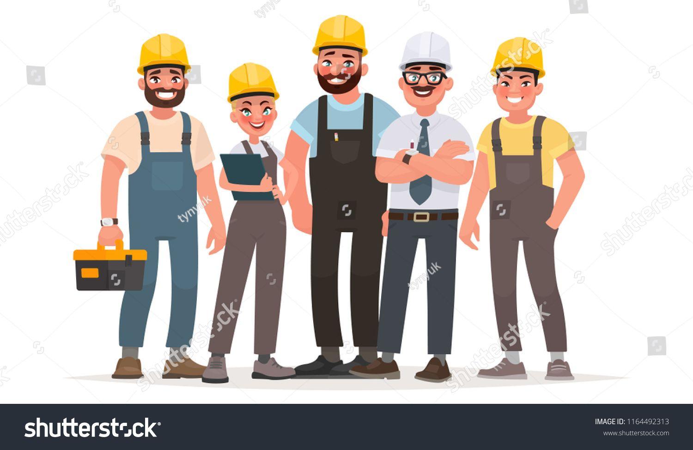 Industrial workers. Team of builders. Engineer, technician and ...