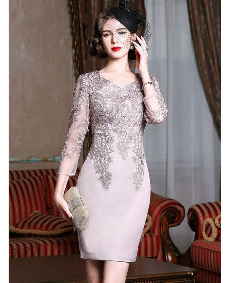 0606128d83 Long Sleeve Embroidered Cocktail Dress For Women Over 40