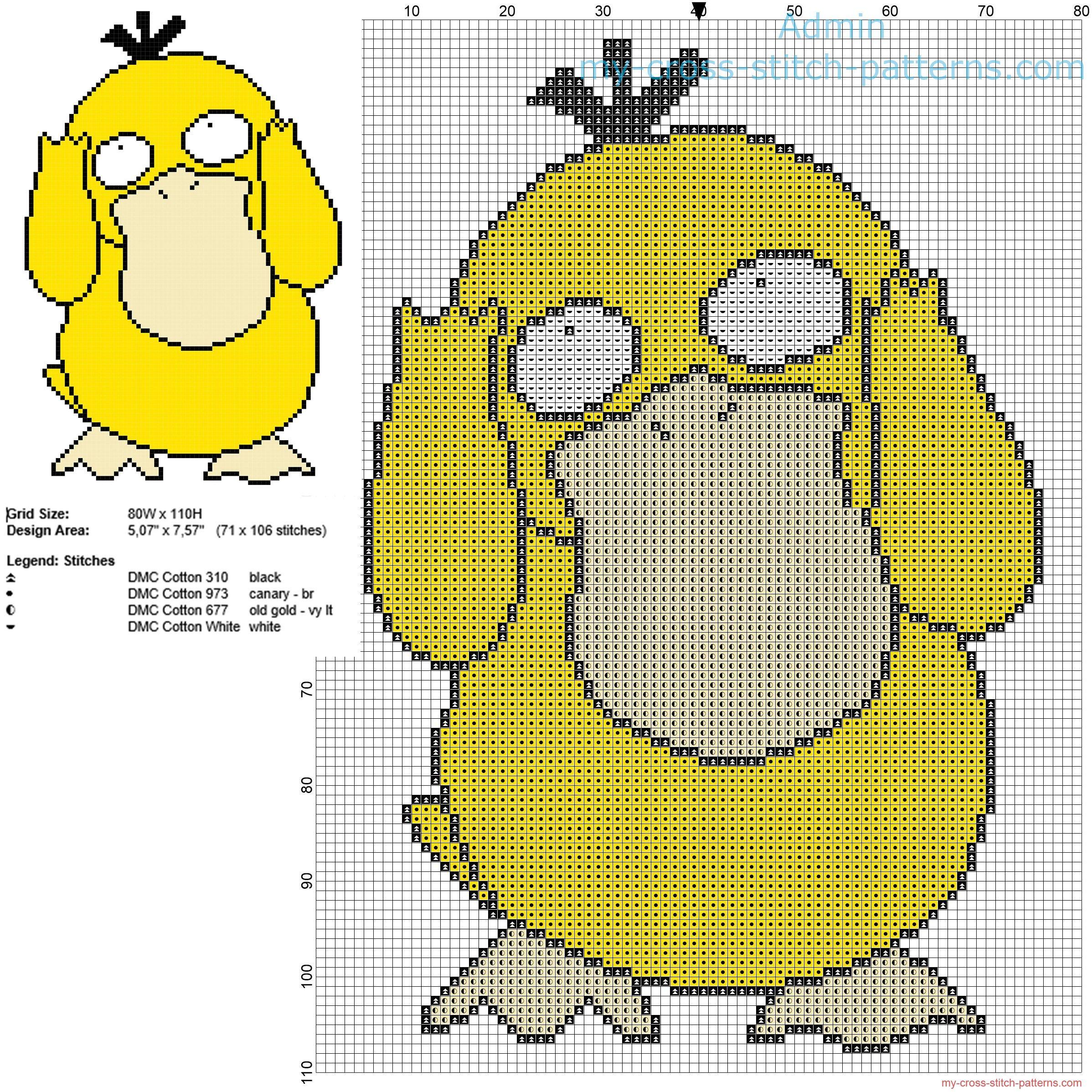 Psyduck Pokemon first generation number 054 free cross stitch ...