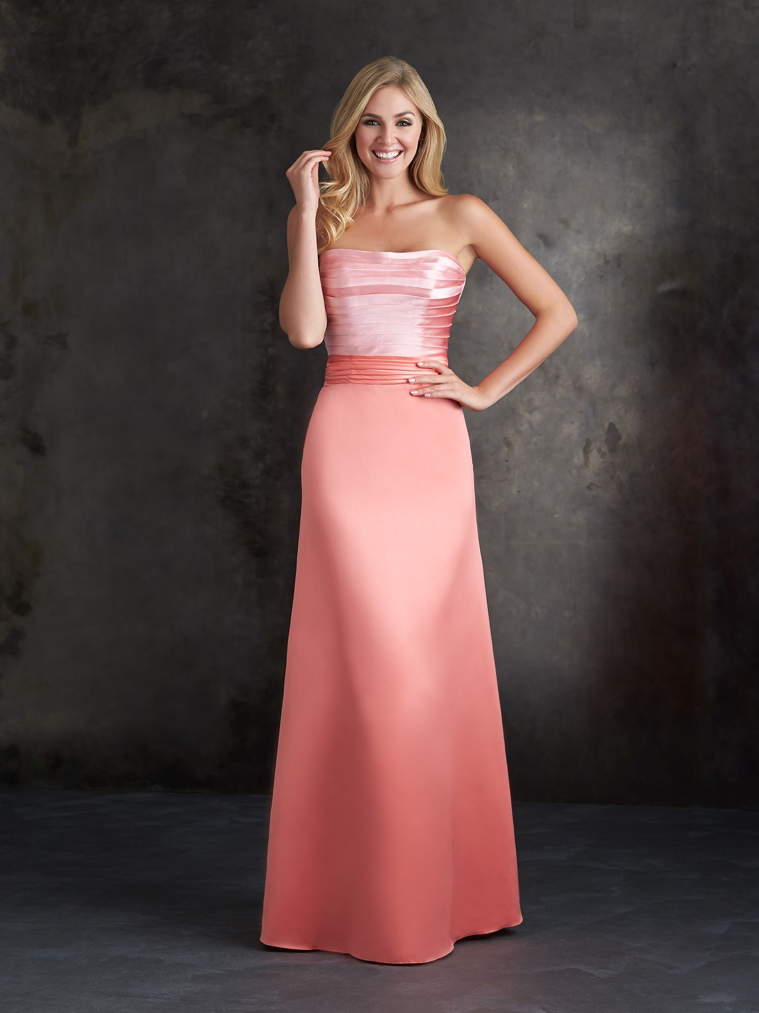 Two tone sequin wedding dress  Allure Bridesmaids STYLE  This Aline dress features ruched