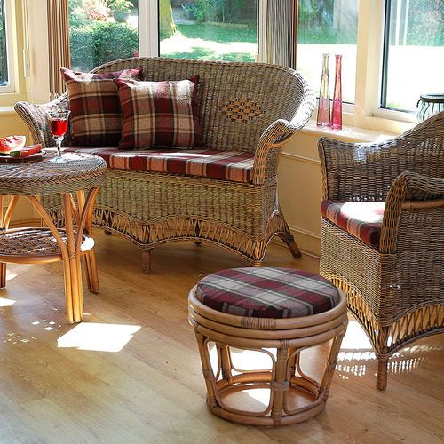 Small Loom Style Cane Conservatory Furniture Set Chestnut Finish Includes  Sofa, Chair, And Coffee