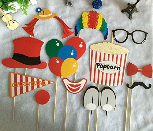 Diy Carnival Photobooth Home Kitty Paper Carnival Photo Booth Stick Props Circus Clown Cosplay Carnival Photo Booths Diy Carnival Carnival Themed Party