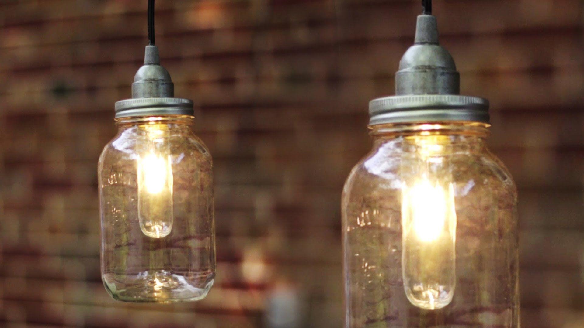 Diy Mason Jar Lamp Tutorial Diy Crafts And Projects Diy Diy Projects Diylamps Diy Mason Jar Lights Mason Jar Pendant Light Mason Jar Chandelier